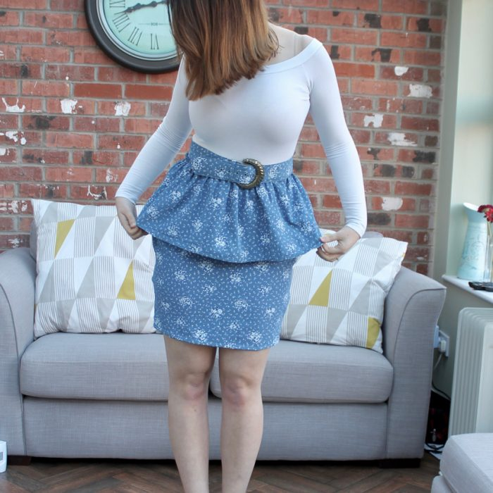 Refashioning an ugly vintage dress into a peplum skirt