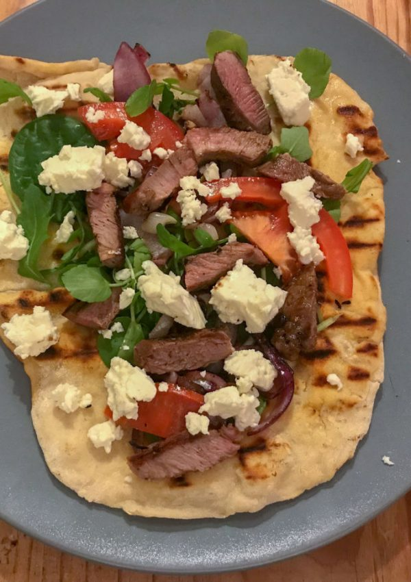 Chargrilled lamb flatbread recipe