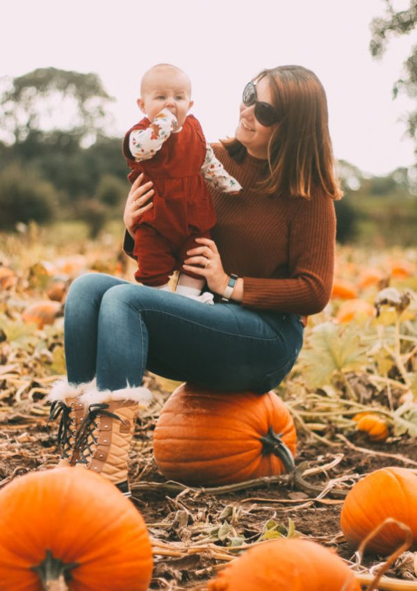Baby and mum at pumpkin patch in North Yorkshire